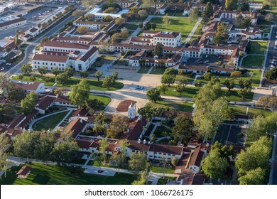 Camarillo, California, USA - March 26, 2018:  Aerial view of main campus quad area at California State University Channel Islands.