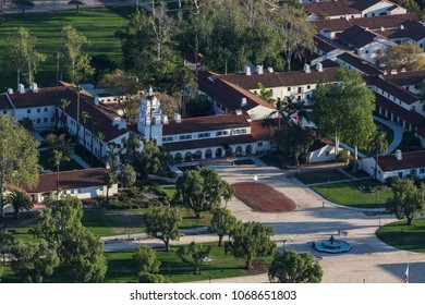 Camarillo, California, USA - March 26, 2018:  Aerial view of historic Bell Tower Building in the California State University Channel Islands campus.