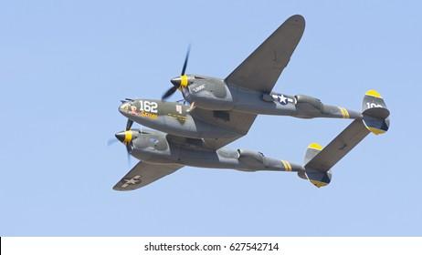 CAMARILLO, CA/USA - AUGUST 23, 2015: Lockheed P38J Lightning 'Skidoo' shown at Wings Over Camarillo. The Lockheed P-38 Lightning is a World War II-era American piston-engined fighter aircraft.