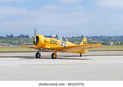 CAMARILLO/CALIFORNIA - AUG. 20, 2016: 1943 North American SNJ-5 military warbird parked on the tarmac at Camarillo Airport in Camarillo, California USA