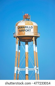 CAMARILLO/CALIFORNIA - AUG. 21, 2016: Isolated image of a water tower which sits along the entry road to the Camarillo airport in the city of Camarillo, California USA