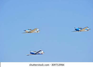 CAMARILLO/CALIFORNIA - AUGUST 23, 2015: Vintage aircraft flying in formation demonstrate their flying agility at Wings Over Camarillo Airshow in Camarillo, California USA