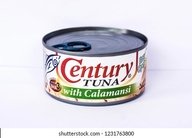 Camarines Sur, PHILIPPINES - FEB. 7, 2017. A close-up photo of Century Tuna with Calamansi. A canned tuna brand in the Philippines manufactured by Century Pacific Food, Inc