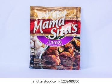 Camarines Sur, PHILIPPINES - JAN. 27, 2017. A close-up photo of Mama Sita's Adobo Savory Sauce Mix from the Philippines.