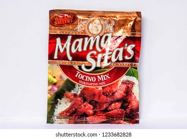 Camarines Sur, PHILIPPINES - JAN. 27, 2017. A close-up photo of Mama Sita's Tocino Mix, marinating mix by Mama Sita from the Philippines