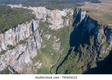 CAMBARA DO SUL, RS, BRAZIL - JULY 2017 - Aerial view of Itaimbezinho Canyon, Cambara do Sul, RS, Brazil