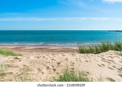 Camber Sands beach in East Sussex, in the village of Camber, UK. The 3 miles stretch is the only sand dune beach in East Sussex.