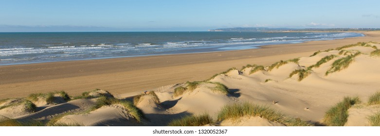 Camber Sands East Sussex UK a beautiful sandy beach near Rye and Hastings panoramic view