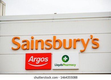 Camberley, United Kingdom, 28th July 2019:- A branch of Sainsbury's, the number 2 supermaket in the UK