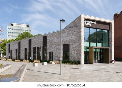 CAMBERWELL, UK - APRIL 22, 2018: Exterior view of Camberwell Library, a new, permanent public library, opened by Southwark Council in 2015.
