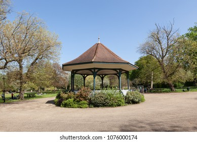 CAMBERWELL, UK - APRIL 22, 2018: View of the bandstand, on a sunny day, in Ruskin Park, South London