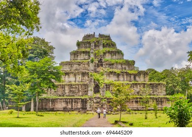 CAMBODIA - 7 AUG, 2017, Ancient khmer pyramid in Koh Ker, Cambodia with blue sky and clouds, sunny day - Shutterstock ID 694445209