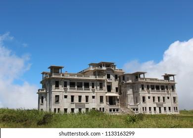 Cambodia. Abandoned hotel Bokor Palace .Mountain Bokor .Kampot city. Kampot province.