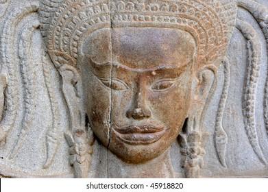 Cambodia Angkor Apsara on the wall of Angkor wat