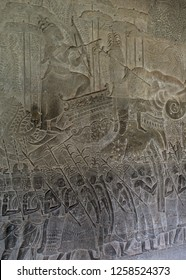 Cambodia, Angkor Wat, stone bas-relief, an elephant warlord and army
