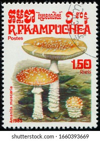 CAMBODIA - CIRCA 1985: stamp 1.5 Cambodian riel printed by Kingdom of Cambodia, shows mushroom Amanita Muscaria, fungi flora, circa 1985