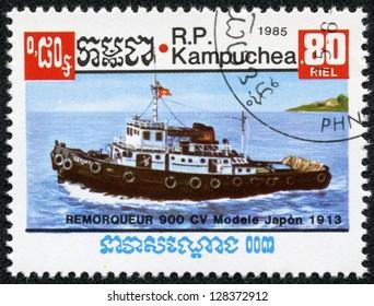 CAMBODIA - CIRCA 1985: A stamp printed by CAMBODIA shows ship, series, circa 1985