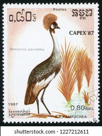 CAMBODIA - CIRCA 1987: stamp printed in Kampuchea shows balearica pavonina (black crowned crane); birds; CAPEX 87; Scott 791 A160 0.80 riel; circa 1987