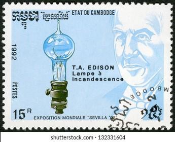 CAMBODIA - CIRCA 1992: A stamp printed in Cambodia shows Thomas Edison (1847-1931), electric light bulb, devoted EXPO-92 in Seville, circa 1992