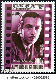 CAMBODIA - CIRCA 2001: A stamp printed in Cambodia shows Walt Disney portrait, circa 2001