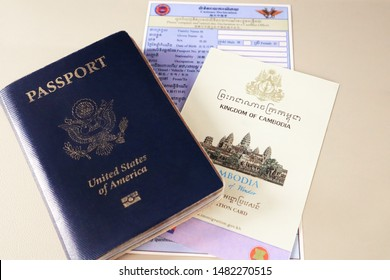 Cambodia Customs declaration and Immigration cards with U.S. passport