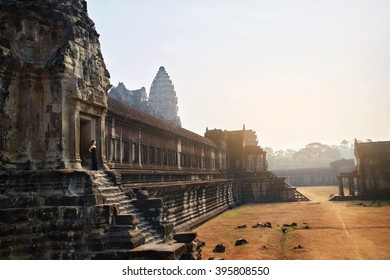 Cambodia Famous Landmark. World Largest Religious Monument, Prasat Angkor ( Nokor ) Wat Temple Complex, Siem Reap. Ancient Khmer Architecture. Tourist Attraction, Travel Destination In Asia. Heritage
