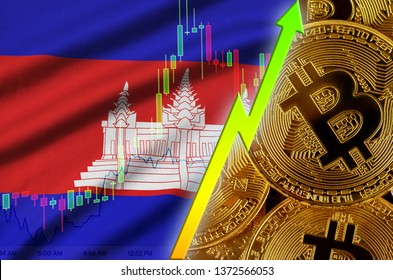 Cambodia flag and cryptocurrency growing trend with many golden bitcoins