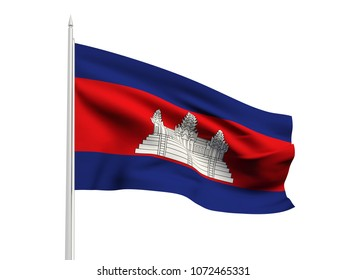 Cambodia flag floating in the wind with a White sky background. 3D illustration.