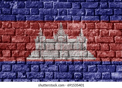 Cambodia Flag Painted on brick wall