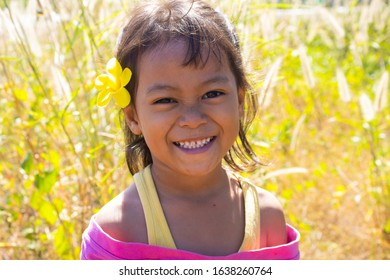 CAMBODIA, KAMPONG THOM PROVINCE, 07 Feb 2020, Pretty girl near the village at Kampong Thom Province, Cambodia.