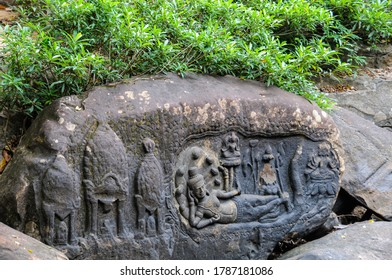 Cambodia: Kbal Spean; carvings on the banks of and in the bed of the river are said to sanctify the waters that feed Angkor. In this restored carving is a reclining Vishnu with his consort Lakshmi.
