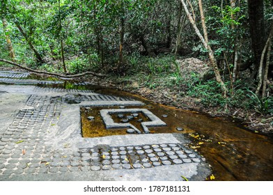 Cambodia: Kbal Spean; carvings on the banks of and in the bed of the river are said to sanctify the waters that feed Angkor. Lingas and yoni in the bed of the stream.