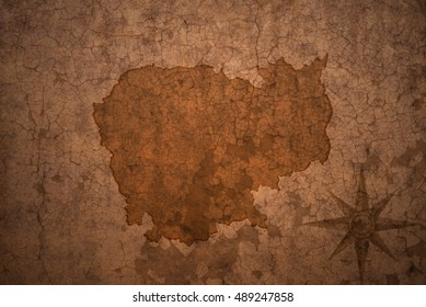cambodia map on a old vintage crack paper background
