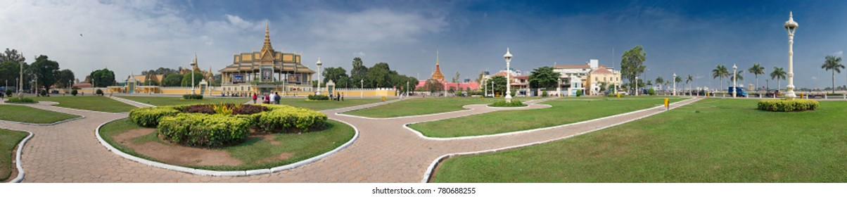 Cambodia - Phnom Penh - the Royal Palace seen from the Park and in the background Wat Ounalom