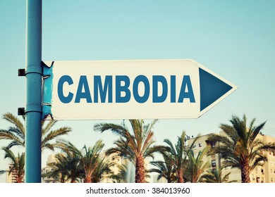 Cambodia Road Sign. Travel Destination