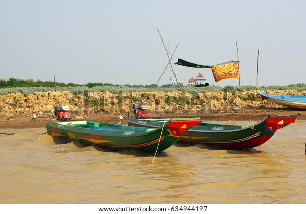 CAMBODIA, SIEM REAP PROVINCE, TONLE SAP LAKE, MARCH 13, 2016: Floating village of Vietnamese refugees on the Tonle Sap lake in Siem Reap province, Cambodia