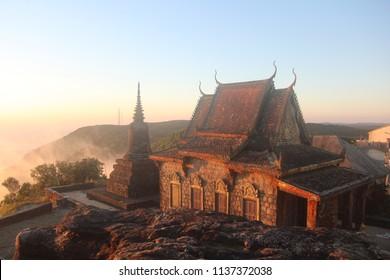 Cambodia. Wat Sampov Pram .Phnom Bokor. Kampot city. Kampot province.