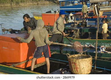 Cambodian fisherman on the port