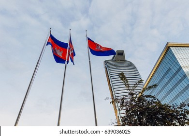 Cambodian flags with modern skyscrapers on the background in Phnom Penh, the capital of Cambodia