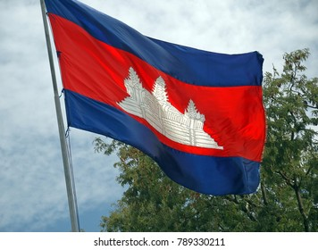 Cambodian National flag still flies proudly in the Cambodian Killing Fields, Features Angkor Wat Temple.