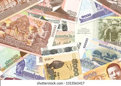 cambodian riel banknotes indicating economics