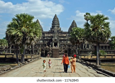 Cambodians in front of Angkor Wat