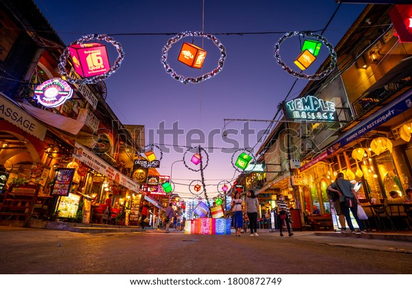 Cambodia,Siem Reap CIty, 1/12/2019:  Pub street night life   tourists attraction  with beautiful Christmas decoration. Pub street shopping and restaurant at night.