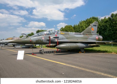 CAMBRAI, FRANCE - JUN 26, 2010: French Air Force Dassault Mirage 2000 fighter jet plane on display.
