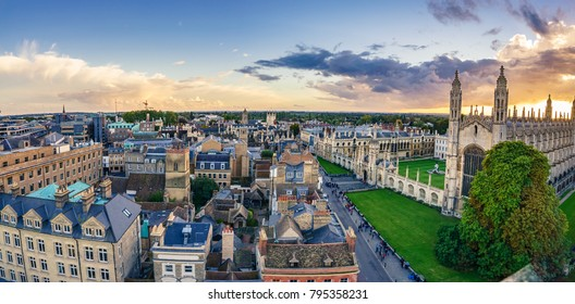 Cambridge aerial panorama at sunset