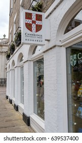 CAMBRIDGE, CAMBRIDGESHIRE, UK - CIRCA MAY 2017: Large University book press and store showing the University crest on the signage, showing in the city, near the famous  Universities.