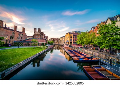 Cambridge city center near the Cam river canal at sunset. England