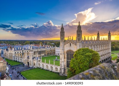 Cambridge city in England at sunset. Top view