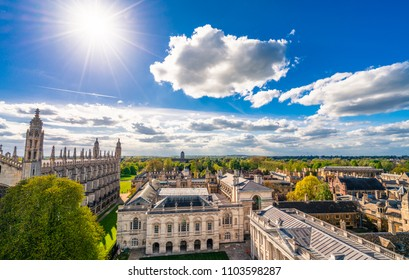 Cambridge city rooftops view, England