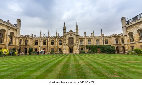 CAMBRIDGE - DEC 12, 2017: Corpus Christi College of the University of Cambridge in England. It was established in 1352 by the Guild of Corpus Christi and the Guild of the Blessed Virgin Mary.